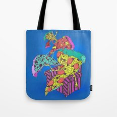 Pizza Eating Pizza - Blue Edition Tote Bag