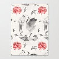 Crane, Swallow, Frog Canvas Print