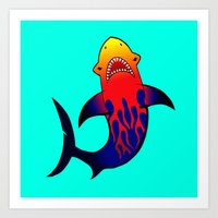 Fabulous Fire Shark  Art Print