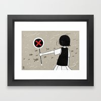 She and fishes Framed Art Print