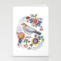 Romantic singing bird with flowers Stationery Cards