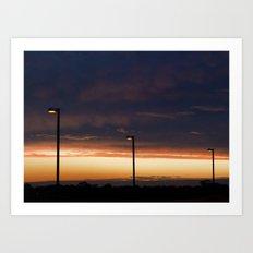 Sunset Street Lights Art Print