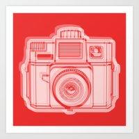 I Still Shoot Film Holga Logo - Reversed Red Art Print