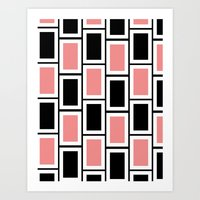 Black and Pink Bricks Art Print