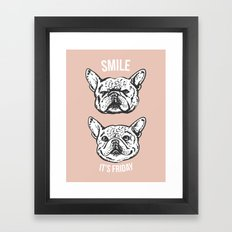 Smile It's Friday Frenchie Framed Art Print