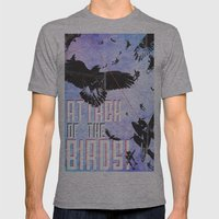 Attack of The Birds! Mens Fitted Tee Athletic Grey SMALL