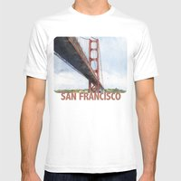 Golden Gate Bridge Mens Fitted Tee White SMALL
