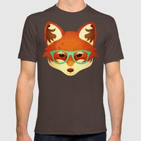 Hipster Fox: Azure Mens Fitted Tee Brown SMALL