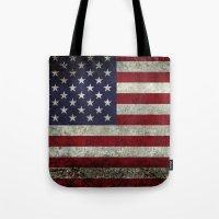American Flag, Old Glory in dark worn grunge Tote Bag