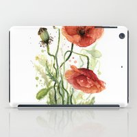 Red Poppies Watercolor Flower Floral Art iPad Case