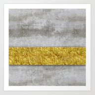 Art Print featuring Concrete And Gold by LebensART