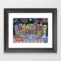 Hong Kong By Night Framed Art Print