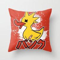 Punk Duck Throw Pillow