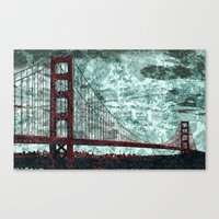 Red Bridge, Blue Bay Canvas Print