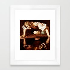 Michelangelo Merisi da Caravaggio, Narcissus at the Source, oil on canvas, 1597-99 Framed Art Print