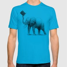 Good Morning (pencil option) Mens Fitted Tee Teal SMALL