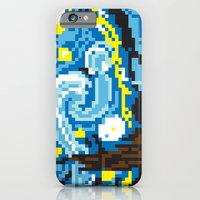 iPhone & iPod Case featuring Pixelated Night by awkwardyeti