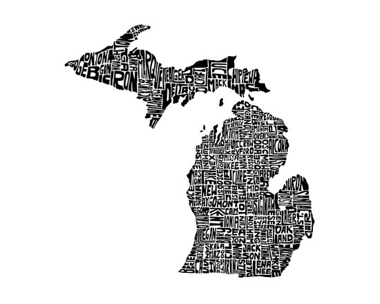 Typographic Michigan Art Print