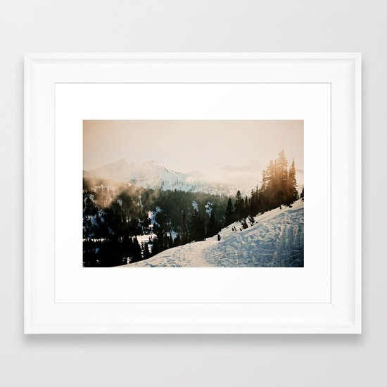 Winter Mountain Hike Framed Art Print