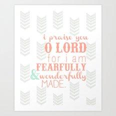 Fearfully & Wonderfully Made [peach & gray] Art Print