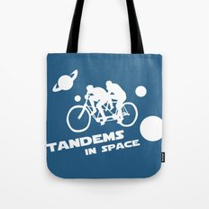 Tandems in Space in Blue Tote Bag