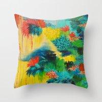 PARADISE WAITS - Beautiful Colorful Tropical Abstract Acrylic Painting Crimson Kelly Green Lagoon Throw Pillow