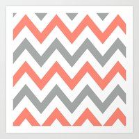 Coral & Gray Chevron Art Print