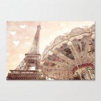 Eiffel Tower Carousel Dr… Canvas Print