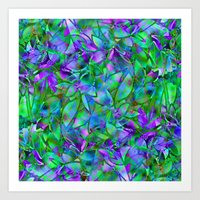 Floral Abstract Stained Glass G295 Art Print