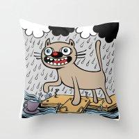 RAIN CATS Throw Pillow