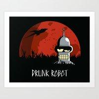 Drunk Robot Art Print