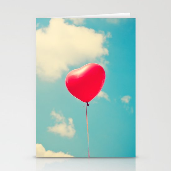 Love is in the air (Red Heart Balloon on a Retro Blue Sky) Stationery Card