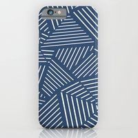 iPhone & iPod Case featuring Abstraction Linear Zoom Navy by Project M