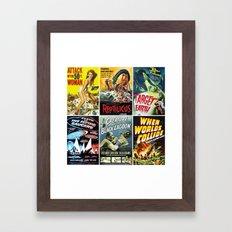 Vintage Sci-Fi Movie Poster Collage Framed Art Print