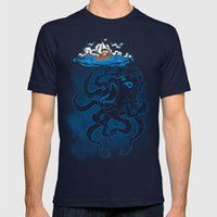 Here There Be Monster Mens Fitted Tee Navy SMALL