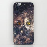 Purple Galaxy Nebula Stars Blue Space Hipster Owl iPhone & iPod Skin