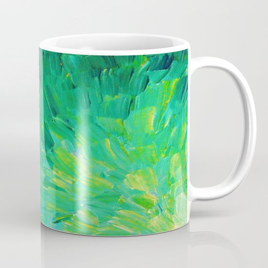 SEA SCALES in GREEN - Bright Green Ocean Waves Beach Mermaid Fins Scales Abstract Acrylic Painting Mug