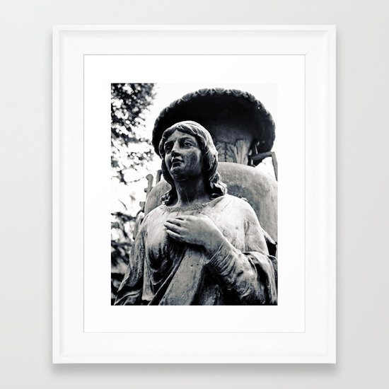 Hand on her heart Framed Art Print