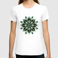 Peace Tile Print Womens Fitted Tee White SMALL