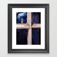 Peeping Cigarette Framed Art Print