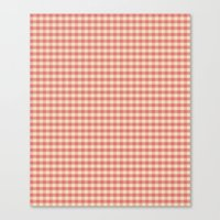 Pink Gingham Check Water… Canvas Print