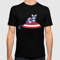 Captain AmeriCAT: The First Catvenger Mens Fitted Tee Black SMALL