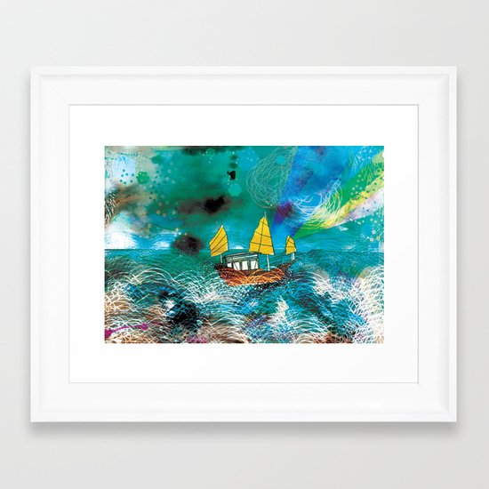 Come and Sail with me through the Stormy Sea Framed Art Print