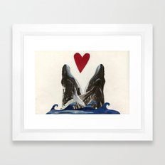 Whales in Love Framed Art Print