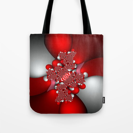 Red, silver and pink fractal Tote Bag