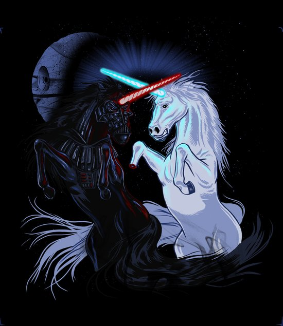 Starwars with unicorns (black) Canvas Print