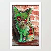 Mean Green Cute Zombie Cat Art Print