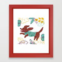 Happy Fall, Dogs! (Ginger) Framed Art Print