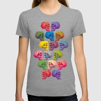 Skull In Color Womens Fitted Tee Tri-Grey SMALL