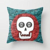 Skull Poppy Throw Pillow